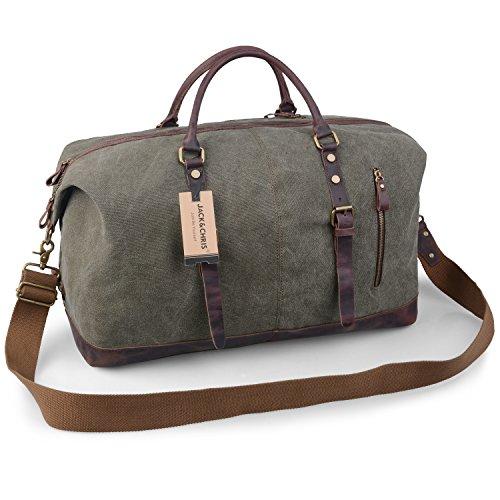 Jack&Chris Oversized Canvas Leather Trim Travel Tote Duffel Shoulder Handbag Weekend...