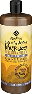 Alaffia - Authentic African Black Soap, All-in-One Body Wash, Shampoo, and Shaving Soap, All Skin and Hair Types, Fair Trade, No Parabens, Non-GMO, No SLS, Lavender Ylang Ylang, 32 Fl Oz