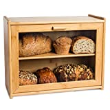 LAURA'S GREEN KITCHEN Large Bread Box: Bamboo Bread Box with Clear Front Window - Farmhouse Style Bread Holder for Kitchen Counter - Double Layer Bread Storage Bin Holds 2 Loaves (Self-Assembly)