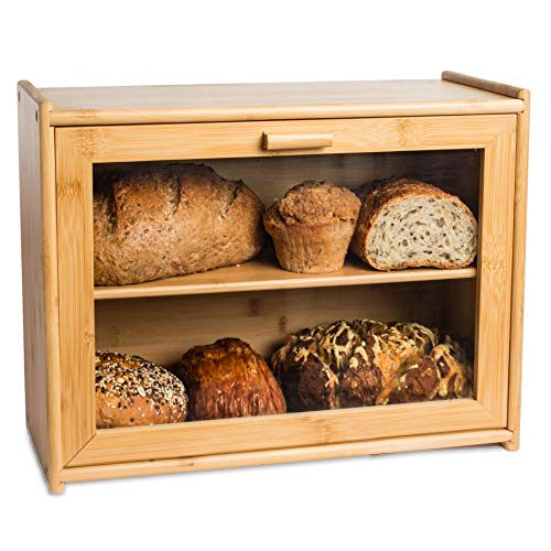 LAURA'S GREEN KITCHEN Large Bread Box: Bamboo BreadBox with Clear Front Window - Farmhouse Style Bread Holder for Kitchen Counter - Double Layer Bread Storage Bin Holds 2 Loaves (Self-Assembly)