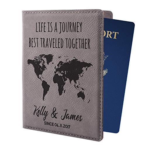 Personalized Passport Holder w Name and Quote - Custom Engraved Leather Passport Cover for Women and Men - Christmas Gifts for...