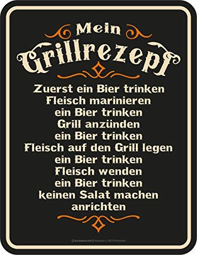 RAHMENLOS Deko Blechschild für den BBQ Grill Fan: Mein Grillrezept