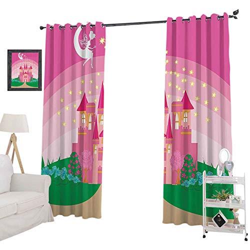 YUAZHOQI - Cortinas oscuras para habitación (132 x 160 cm), diseño de castillo de princesas con Pixie in Sky fictional, color rosa y verde