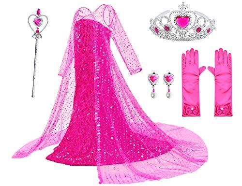 Vestido de princesa para disfraz de Elsa con gorro largo brillante, fiesta de cumpleaos con peluca, guantes, corona, accesorios de maza de 2 a 10 aos