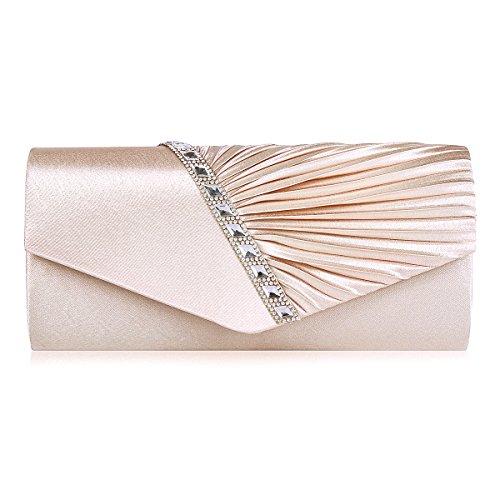 Damara Elegant Strassstein Damen Abendtasche Handtasche,Aprikose