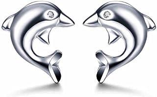 Paialco Dolphin Cubic Zirconia Stud Earrings 925 Sterling Silver Women Ear Studs