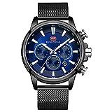 MHCYKJ Reloj Marca Hombres de los Relojes Ultra Fino de Cuarzo del Reloj de la Correa de Malla Impermeable del cronógrafo de la Manera del Vestido Wristwatc,Azul