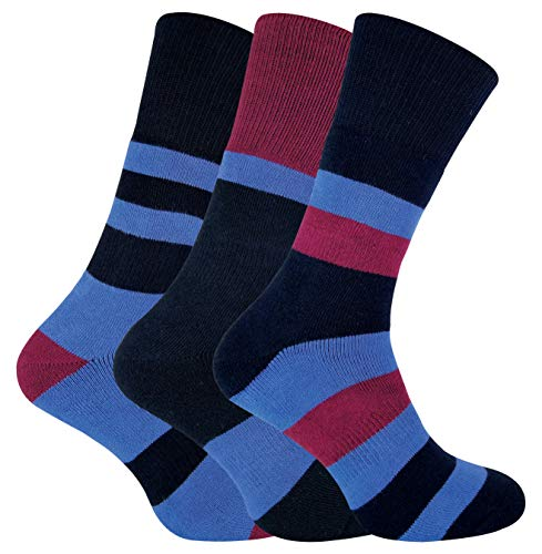 Sock Snob Peninsula - 3 Pares Hombre Antiampollas Calcetines Botas con Doble Capa para Senderismo (40-45 EU, Negro/Azul)