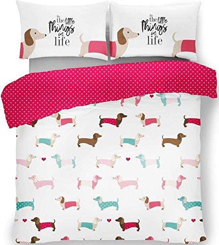 FAIRWAYUK Pink Duvet Cover, Printed Bedding Set Reversible Quilt with 2x Pillow Case, Poly-Cotton, Easy Care, Double, King (SAUSAGE DOG PINK, Kingsize-Duvet-Cover)
