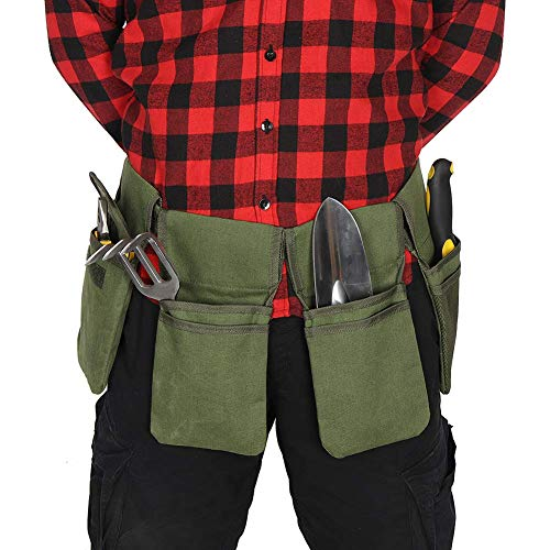 QEES Cinturón de herramientas de lona para hombres, delantal de herramientas de jardín de un solo lado, para el hogar, jardín, caravana, limpieza, longitud de la cintura hasta 49 pulgadas