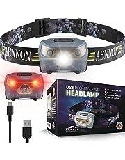 USB-oplaadbare led-hoofdlamp, zeer helder, waterdicht, licht en comfortabel, perfect voor joggen, wandelen, kamperen, lezen, hardlopen, voor kinderen en meer, inclusief USB-kabel