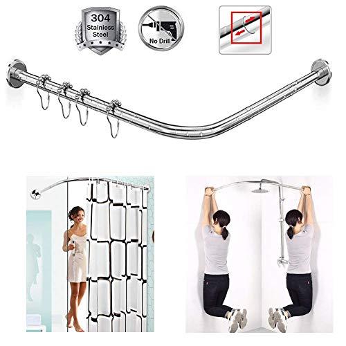 Barra curva para cortina de ducha en forma de U sin taladrar bañera de baño barra de cortina de baño barra extensible, ajustable de acero inoxidable 304 para tiendas de ropa de esquina, 70 a 95 x 105