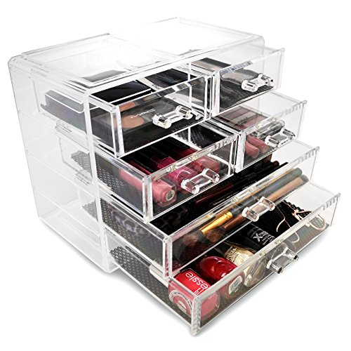 Sorbus Acrylic Cosmetics Makeup and Jewelry Storage Case Display- 2 Large and 4 Small Drawers Space- Saving, Stylish Acrylic Bathroom Case