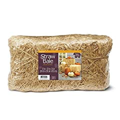 """This package includes one 12"""" x 12"""" x 24"""" natural Straw Bale. Natural, earth-friendly and biodegradable – perfect for indoor and outdoor use! Sun-baked, barley straw has a rich, beautiful, golden color. Bound with high-quality, durable, galvanized wi..."""