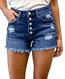 BTFBM Women High Waisted Rise Short Jean Summer Soft...