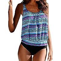 SHOBDW Mujeres más tamaño Impreso Tankini Bikini Traje de baño bañador Traje (Azul, XL)