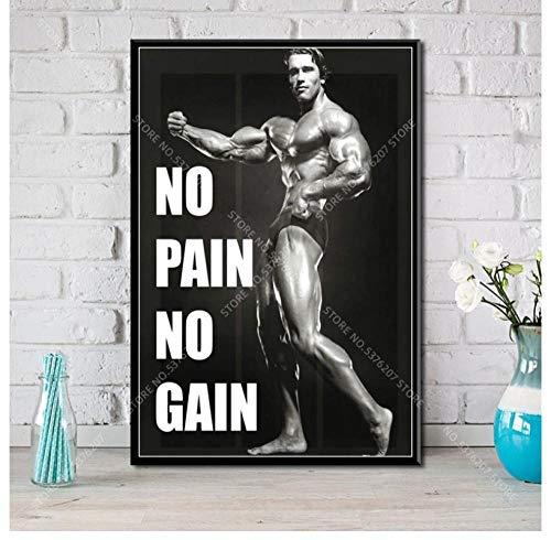 ZOEOPR Poster su Tela Arnold Schwarzenegger Poster Motivazionale Allenamento in Palestra No Pain No Gain Poster Wall Art Canvas Painting 50 * 70Cm No Frame