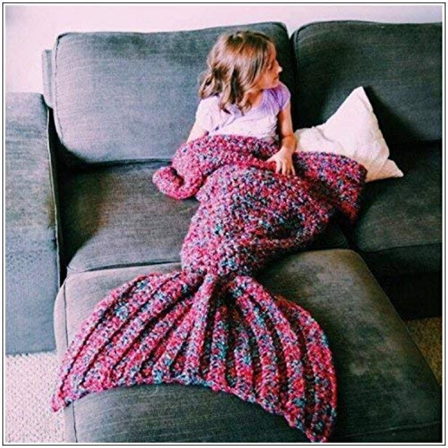 JINGB Home Mermaid Tail Sofa Handmade Wool Knit Mermaid, Single Layer bluee, 90  40CM (35.4  15.7 inch)