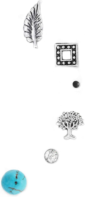 Forbidden Body Jewelry Multi-Pack Along-The-Ear Cartilage Stud Earring Set, 20g
