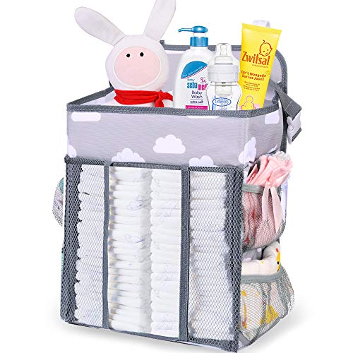 Nabance Nursery Organisers Crib Organiser Baby Nappy Organiser Storage Stacker for Table Crib Hanging Diaper Caddy Wall Changing Nappy Organization Newborn Gifts