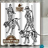 N\A Hochauflösende Fotografie Home Postkarte Dekor Duschvorhang Jäger H&e Retro Clipart Set Plus Logo Jäger H&e Retro Clipart Set