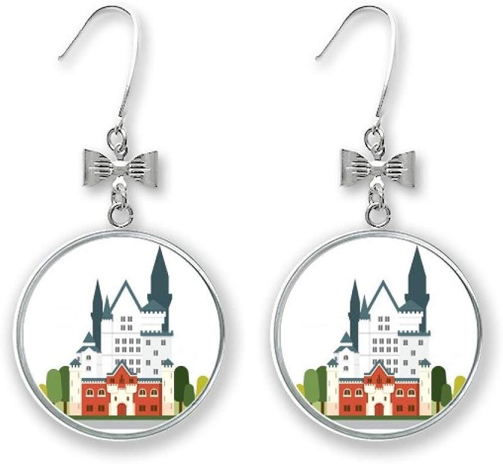 Germany New 2021 new Swan Castle mart Architecture Stud Earrings Drop Bow Pier