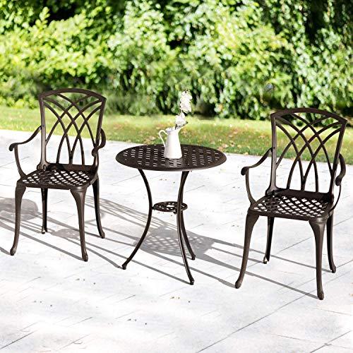 Nuu Garden Bistro Table Set 3 Piece with Umbrella Hole, Outdoor Bistro Set of 3, Aluminum Patio Furniture Set – Cast Aluminum, Dark Bronze