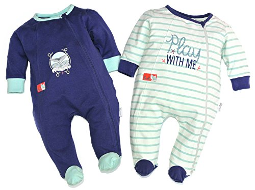 Gelati 16180042 Lot de 2 pyjamas à manches longues avec pieds baleines Bleu foncé/turquoise - Bleu - S