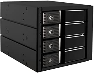 "Kingwin Aluminum Four Bay Hot Swap Mobile Rack For 3.5"" SSD/HDD, Internal Tray-Less SATA HD Backplane Enclosure, Support SATA I-III & SAS I/II 6Gbps"