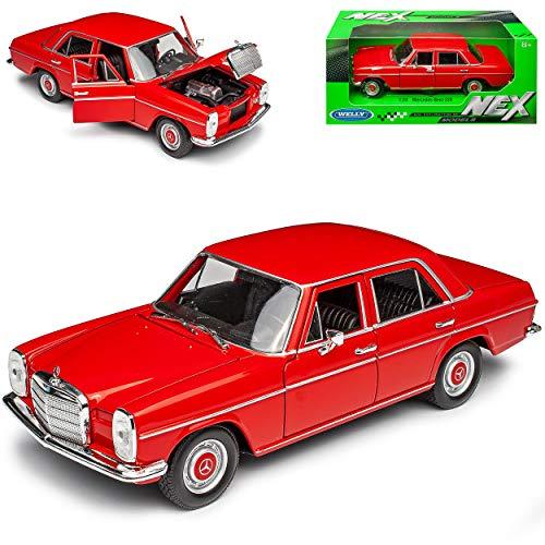 Mercedes-Benz 220 /8 Strich Acht Limousine Rot W114 W115 1967-1976 1/24 Welly Modell Auto mit individiuellem Wunschkennzeichen