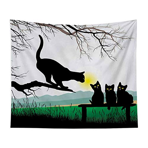 Natural Landscape Tapestry Wall Mounted - Mother Cat on Tree Branch and Baby Kittens in Park Best Friends I Love My Kitty Graphic - Bedroom, Family Dormitory, Fun Gifts,59x83 Inch