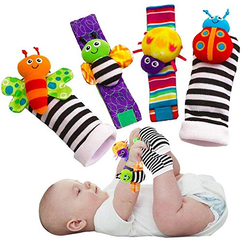 Blige SMTF Cute Animal Soft Baby Socks: Toys Wrist Rattles and Foot Finders for Fun Butterflies and Lady bugs Set 4 pcs (English Edition)