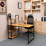 Meilleure Qualité Home Office 47' inch Desk Computer Desks with Storage Shelves 47' Office Writing Study Workstation Modern Simple Style Gaming Desk for Home Office,Space Saving