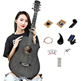 SPULAS Acoustic Wooden 38 Inch Guitar Hand-Painted Fawn Pattern for Beginner Kid Teen Student Adult Travel All Wood Cutaway Starter Set with Case, Strap, Capo, Strings, Picks, Tuner (T-B1)
