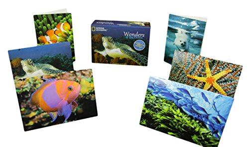 "National Geographic Blank Inside Note Cards w/ Envelopes ""Wonders of the Ocean"" 12 Cards, 13 Envelopes & a National Geographic Keepsake Box Included! Thank You Cards, Stationery Cards � 3.5� x 5�"