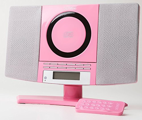 Denver Music Center (verticale CD-speler met LCD-display, AUX-In, wandhouder, wekkerradio) roze