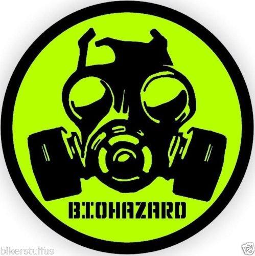 BIKERSTUFFUS BIO-Hazard Gas MASK Symbol Hard HAT Sticker (LOT of 3) Helmet Sticker Toolbox Sticker Laptop Sticker