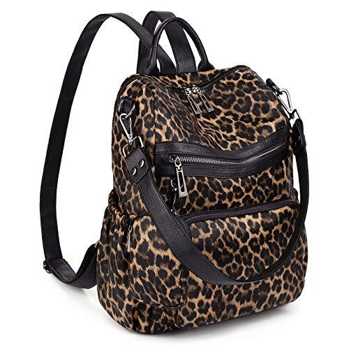 UTO Women Backpack Purse Convertible Ladies Rucksack Zipper Pocket Shoulder Bag with Detachable Pouch Vegan Leather Leopard Print