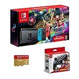 Nintendo Switch, Neon Blue/Neon Red Joy-Con Bundle Mario Kart 8 Deluxe, Super Mario Odyssey, Nintendo Switch Pro Controller, 3 meses Nintendo Switch Online Membresía, Woov Micro SD 256 GB