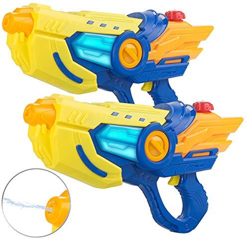 Speeron Wasserspielzeuge Garten: 2er-Set batteriebetriebene Wasserpistolen, LED-Lichteffekt, je 600 ml (Wasserpistolen mit Batterie)