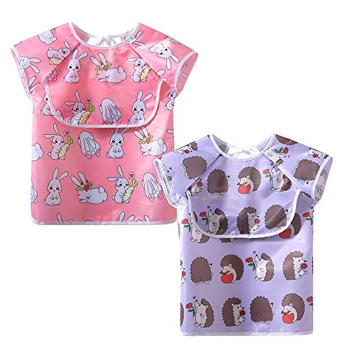 Babero para bebés con mangas Baberos impermeables para bebés y niños pequeños con bolsillo