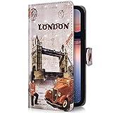 Uposao Compatible para Huawei P30 Lite Funda Piel PU Cuero Libro Flip Cover con Tapa,Glitter Brillante Purpurina Cubierta Billetera Soporte Plegable Ranura Tarjeta,Cierre Magnético,Londres