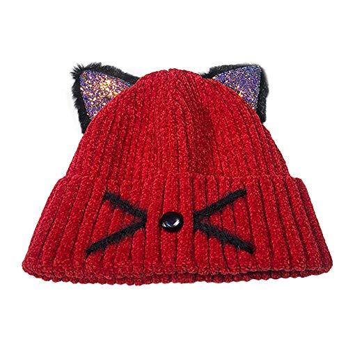 Womens Knit Hats Cat Ears Hats Warm Crochet Beanies Wool Winter Cute Skull Cap (Red)