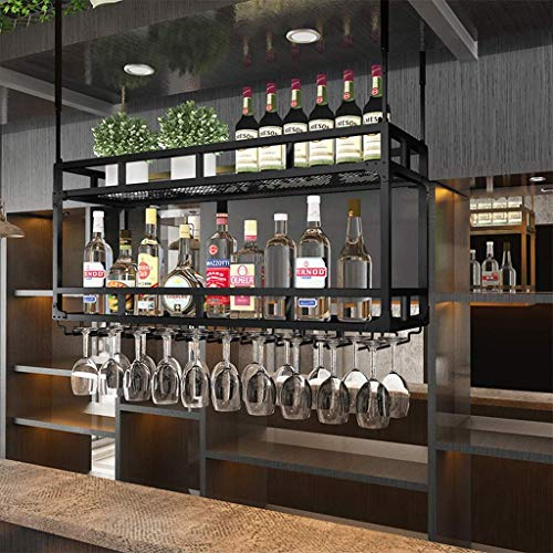TTWUJIN Estante para vino, bar, restaurante, estante para copas de vino, soporte para el hogar para mostrador, creatividad al revés, soporte para vasos colgantes rojo, estante para alenamiento, 2 niv