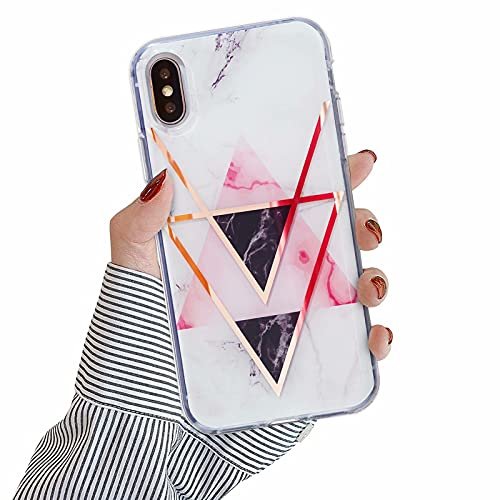 Nadoli Marmo Custodia per iPhone XS X 5.8 ,Ultra Sottile Placcatura Lucido Morbido Flessibile TPU Gomma Silicone Antiurto Protettiva Cover