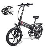 YRXWAN Ciclomotor de 7 velocidades 48V 350W Bicicleta eléctrica Plegable Neumático de 20 Pulgadas Bicicleta eléctrica 80km Kilometraje Bicicleta eléctrica,Negro,350w