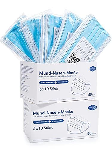 1OO Laborgeprüfte Einmalmasken Mundschutz inkl. 1 x praktischen Maskenband, geruchsneutral, formstabiler Nasenbügel, haltbare Ohrschlaufen - ONE HUNDRED AID