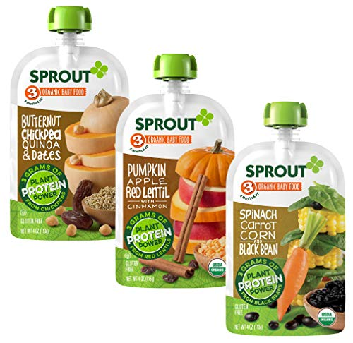 Sprout Organic Stage 3 Baby Food Pouches with Plant Powered Protein, Variety Pack, 4 Ounce (Pack of 18) 6 of Each: Butternut Chickpea Dates, Pumpkin Apple Red Lentil & Spinach Carrot Corn Black Bean
