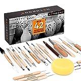 Herramientas de arcilla, 42 piezas de herramientas de escultura, kit de herramientas de cerámica para principiantes y artesanías artísticas profesionales, por Hethrone