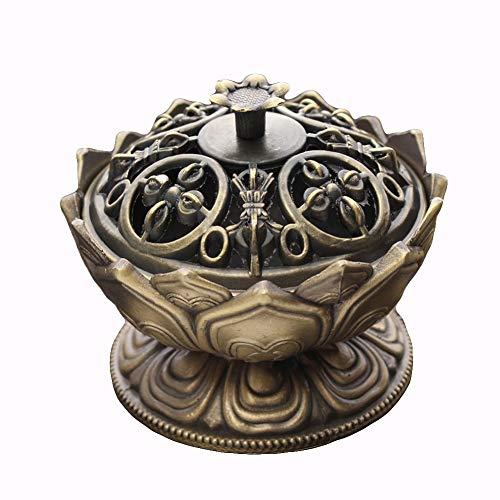 ypypiaol Antike Lotus Weihrauch Räuchergefäß Halter Handgemachte Vaporizer Home Office Dekoration BronzeNone